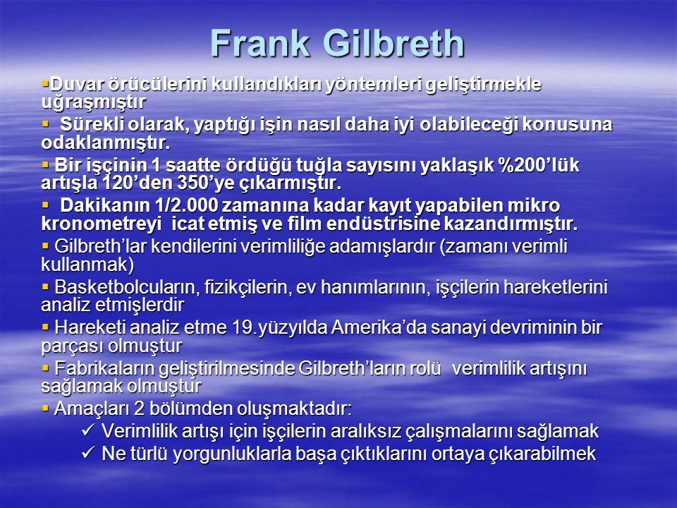 Frank Gilbreth  Duvar örücülerini kullandıkları yöntemleri geliştirmekle uğraşmıştır  Sürekli olarak, yaptığı işin nasıl daha iyi olabileceği konusu
