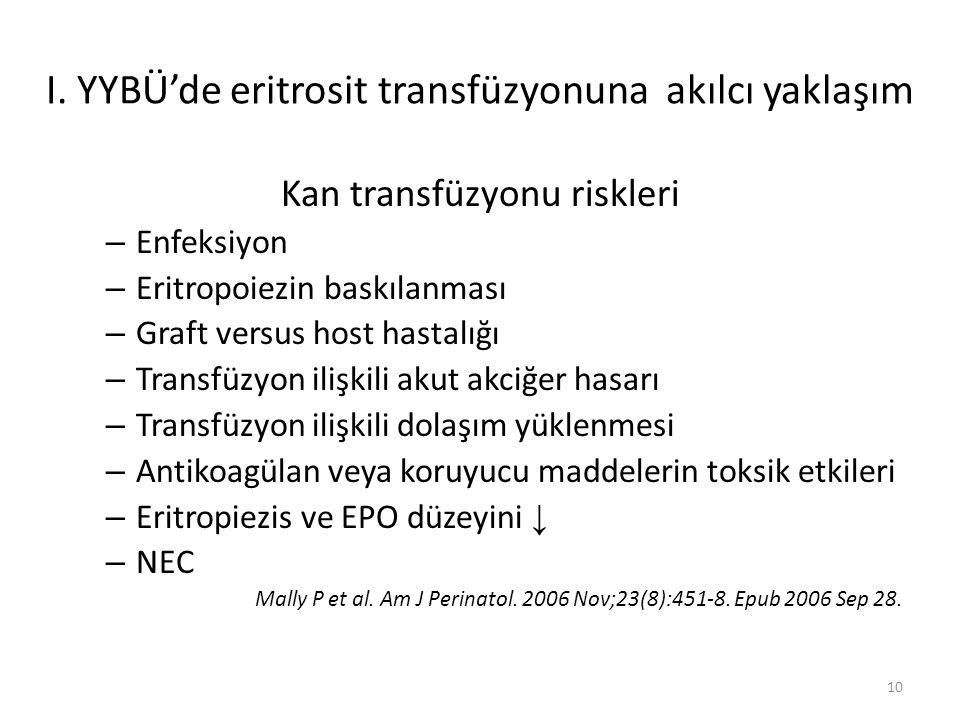 Kan transfüzyonu riskleri – Enfeksiyon – Eritropoiezin baskılanması – Graft versus host hastalığı – Transfüzyon ilişkili akut akciğer hasarı – Transfüzyon ilişkili dolaşım yüklenmesi – Antikoagülan veya koruyucu maddelerin toksik etkileri – Eritropiezis ve EPO düzeyini ↓ – NEC Mally P et al.