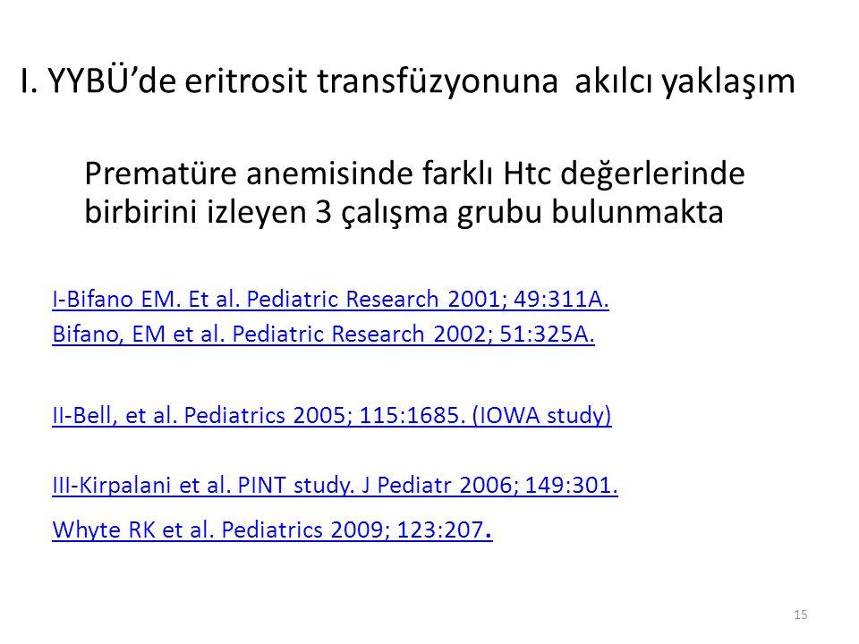 Prematüre anemisinde farklı Htc değerlerinde birbirini izleyen 3 çalışma grubu bulunmakta I-Bifano EM. Et al. Pediatric Research 2001; 49:311A. Bifano