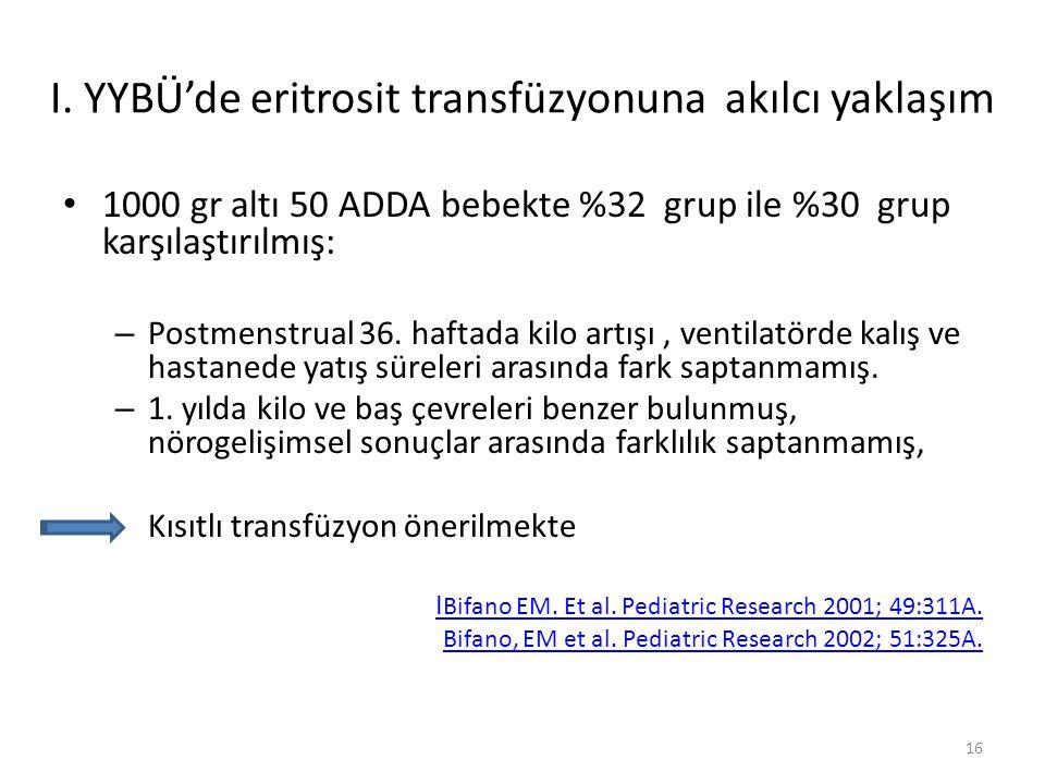 1000 gr altı 50 ADDA bebekte %32 grup ile %30 grup karşılaştırılmış: – Postmenstrual 36.
