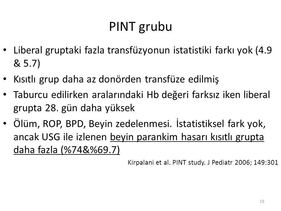 PINT grubu Liberal gruptaki fazla transfüzyonun istatistiki farkı yok (4.9 & 5.7) Kısıtlı grup daha az donörden transfüze edilmiş Taburcu edilirken aralarındaki Hb değeri farksız iken liberal grupta 28.