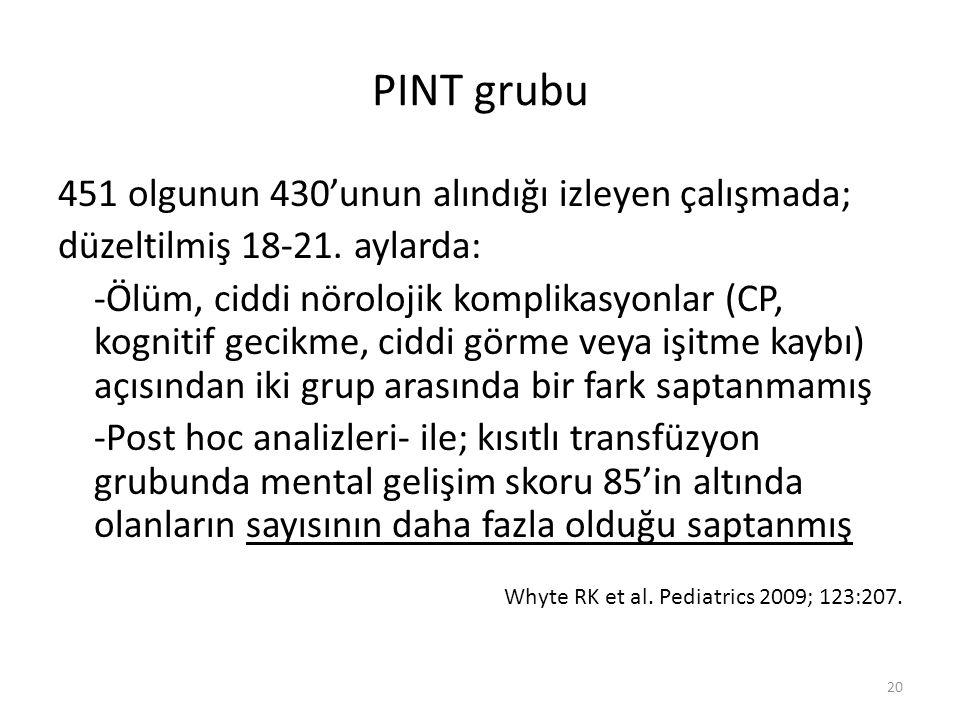 PINT grubu 451 olgunun 430'unun alındığı izleyen çalışmada; düzeltilmiş 18-21.