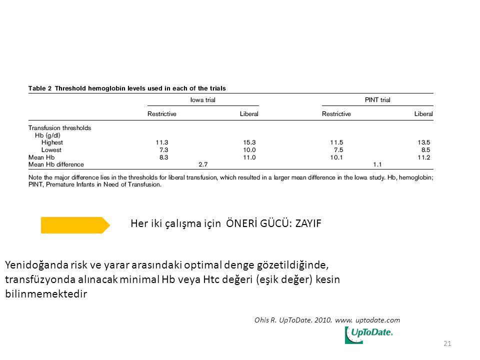 Yenidoğanda risk ve yarar arasındaki optimal denge gözetildiğinde, transfüzyonda alınacak minimal Hb veya Htc değeri (eşik değer) kesin bilinmemektedi