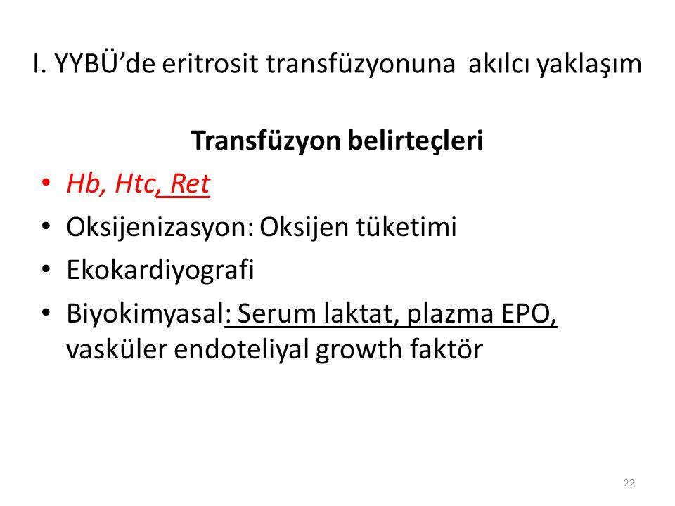 Transfüzyon belirteçleri Hb, Htc, Ret Oksijenizasyon: Oksijen tüketimi Ekokardiyografi Biyokimyasal: Serum laktat, plazma EPO, vasküler endoteliyal growth faktör 22 I.