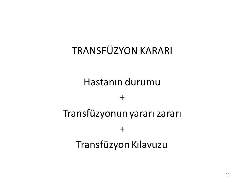 TRANSFÜZYON KARARI Hastanın durumu + Transfüzyonun yararı zararı + Transfüzyon Kılavuzu 24