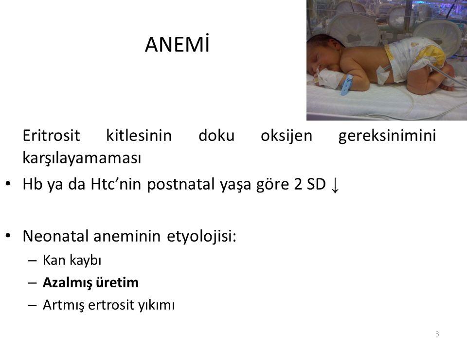 ANEMİ Eritrosit kitlesinin doku oksijen gereksinimini karşılayamaması Hb ya da Htc'nin postnatal yaşa göre 2 SD ↓ Neonatal aneminin etyolojisi: – Kan kaybı – Azalmış üretim – Artmış ertrosit yıkımı 3