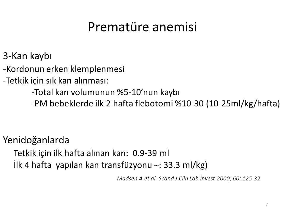 Prematüre anemisi 3-Kan kaybı - Kordonun erken klemplenmesi -Tetkik için sık kan alınması: -Total kan volumunun %5-10'nun kaybı -PM bebeklerde ilk 2 hafta flebotomi %10-30 (10-25ml/kg/hafta) Yenidoğanlarda Tetkik için ilk hafta alınan kan: 0.9-39 ml İlk 4 hafta yapılan kan transfüzyonu  : 33.3 ml/kg) Madsen A et al.