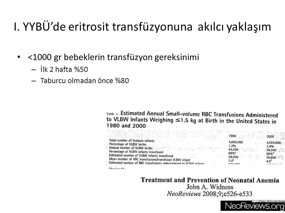 <1000 gr bebeklerin transfüzyon gereksinimi – İlk 2 hafta %50 – Taburcu olmadan önce %80 9 I. YYBÜ'de eritrosit transfüzyonuna akılcı yaklaşım