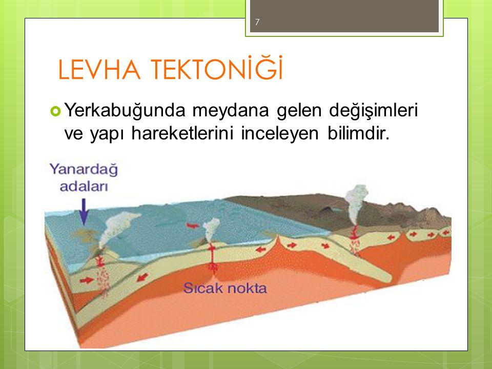 LEVHA TEKTONİĞİ  Yerkabuğunda meydana gelen değişimleri ve yapı hareketlerini inceleyen bilimdir.