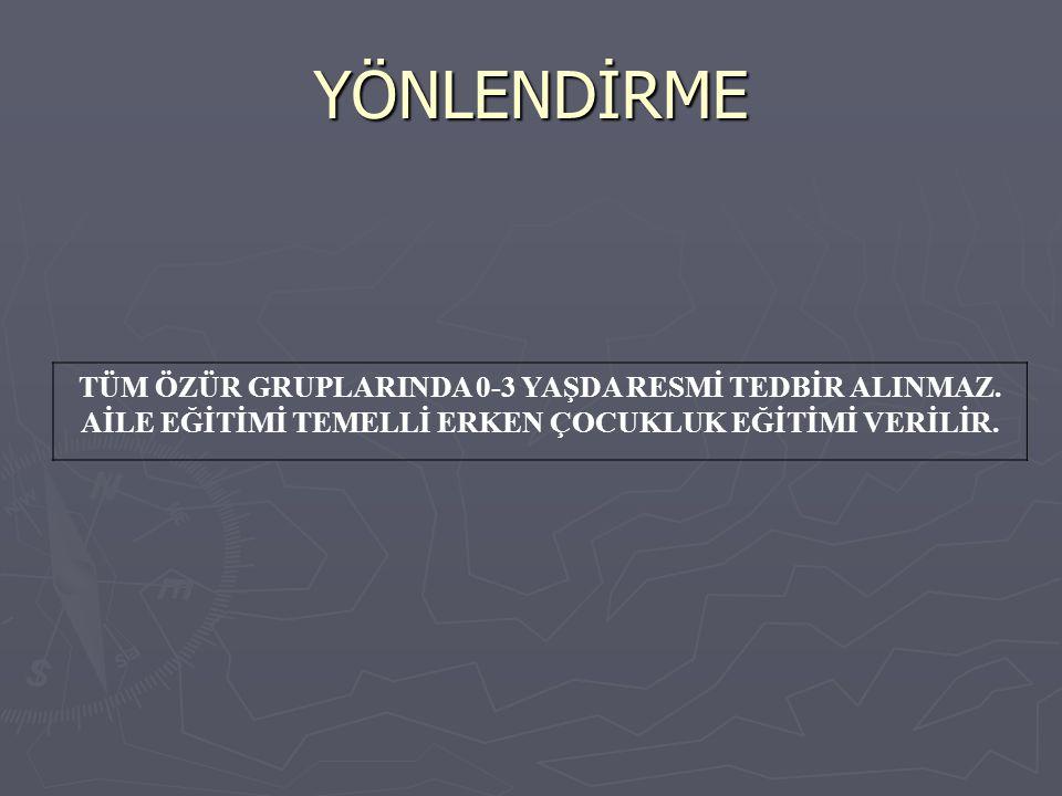 YÖNLENDİRME TÜM ÖZÜR GRUPLARINDA 0-3 YAŞDA RESMİ TEDBİR ALINMAZ.