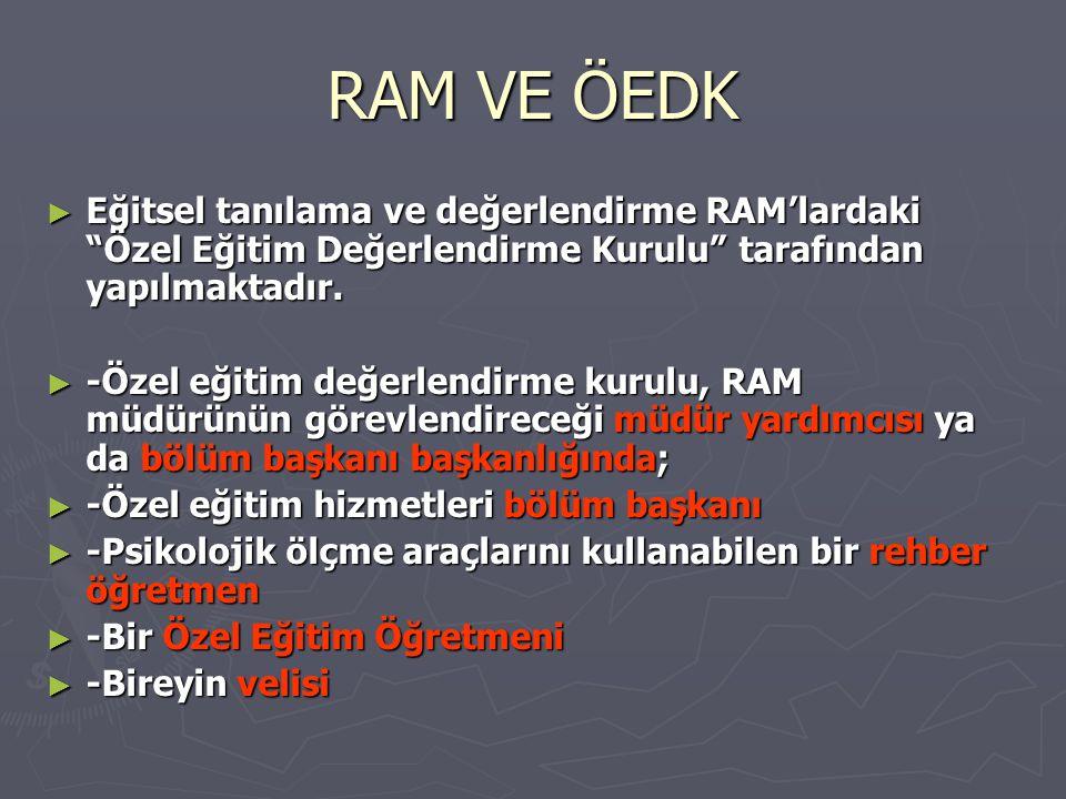RAM VE ÖEDK ► Eğitsel tanılama ve değerlendirme RAM'lardaki Özel Eğitim Değerlendirme Kurulu tarafından yapılmaktadır.