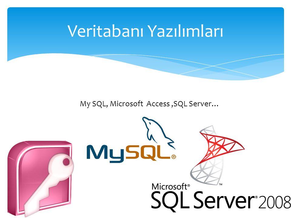 Veritabanı Yazılımları My SQL, Microsoft Access,SQL Server…
