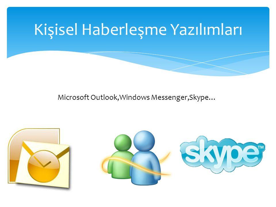 Kişisel Haberleşme Yazılımları Microsoft Outlook,Windows Messenger,Skype…