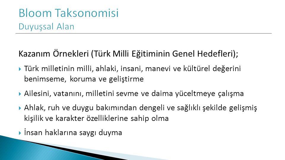Kazanım Örnekleri (Türk Milli Eğitiminin Genel Hedefleri);  Türk milletinin milli, ahlaki, insani, manevi ve kültürel değerini benimseme, koruma ve g