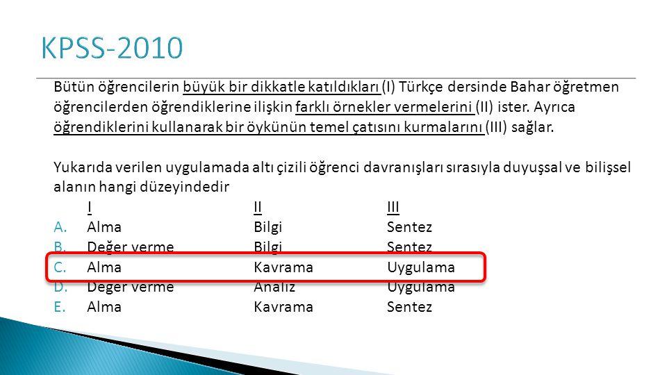 Bütün öğrencilerin büyük bir dikkatle katıldıkları (I) Türkçe dersinde Bahar öğretmen öğrencilerden öğrendiklerine ilişkin farklı örnekler vermelerini