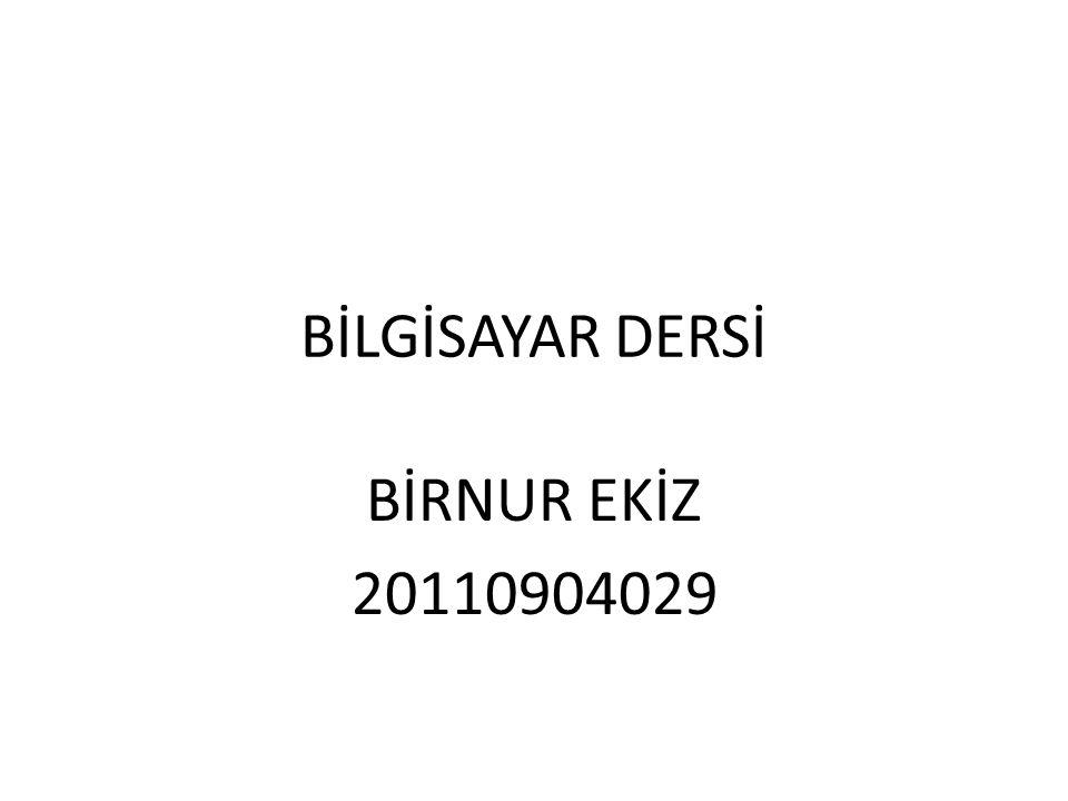 BİLGİSAYAR DERSİ BİRNUR EKİZ 20110904029