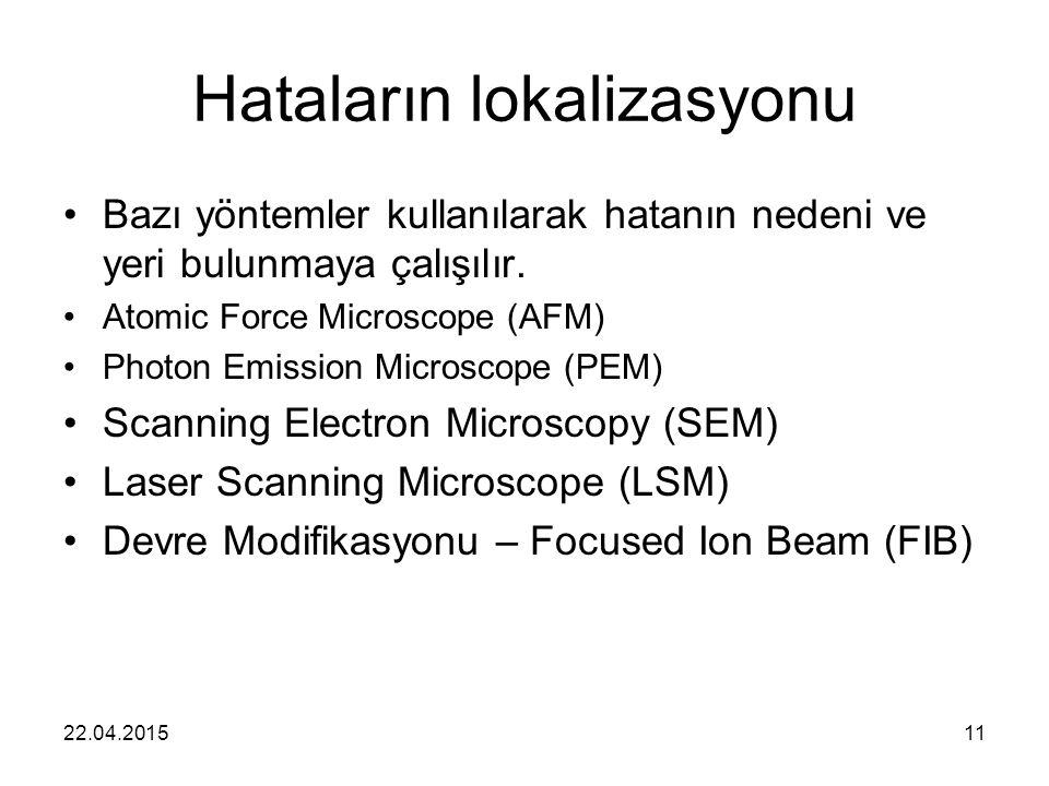 22.04.201511 Hataların lokalizasyonu Bazı yöntemler kullanılarak hatanın nedeni ve yeri bulunmaya çalışılır. Atomic Force Microscope (AFM) Photon Emis