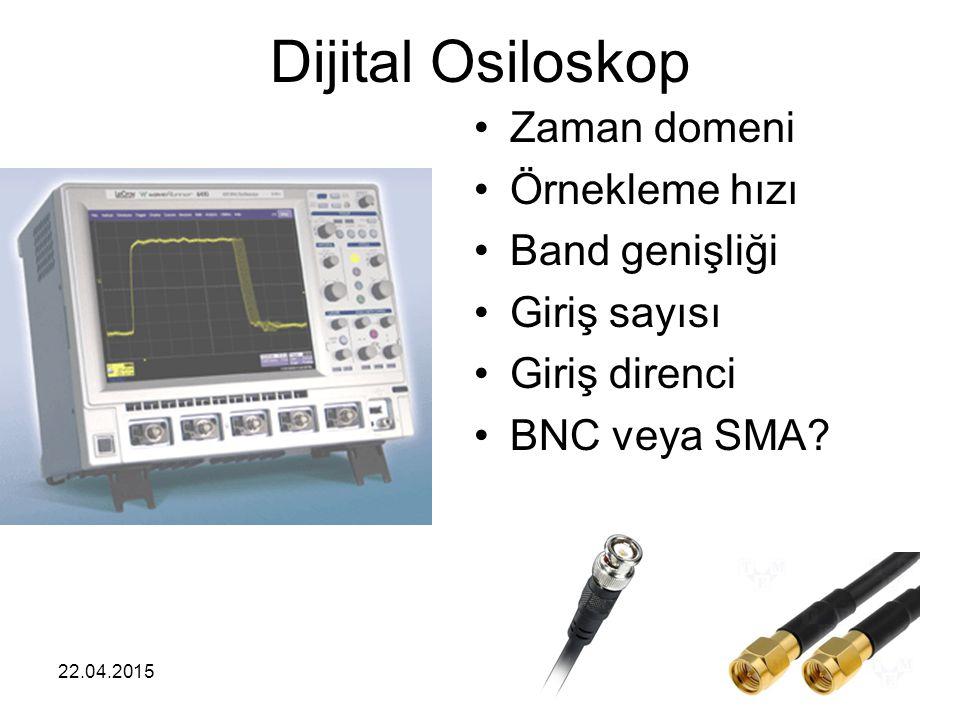 22.04.20156 Dijital Osiloskop Zaman domeni Örnekleme hızı Band genişliği Giriş sayısı Giriş direnci BNC veya SMA?