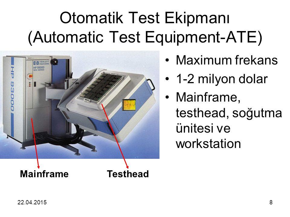 22.04.20158 Otomatik Test Ekipmanı (Automatic Test Equipment-ATE) Maximum frekans 1-2 milyon dolar Mainframe, testhead, soğutma ünitesi ve workstation TestheadMainframe