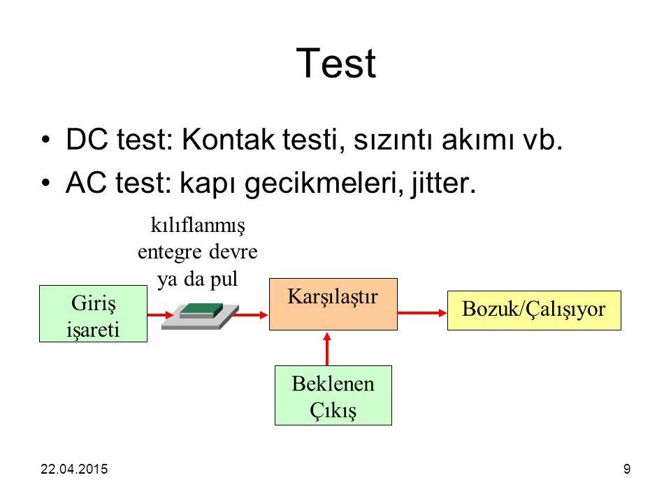 22.04.20159 Test DC test: Kontak testi, sızıntı akımı vb. AC test: kapı gecikmeleri, jitter. Karşılaştır kılıflanmış entegre devre ya da pul Giriş işa