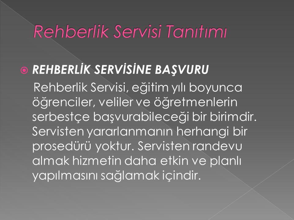  REHBERLİK SERVİSİNE BAŞVURU Rehberlik Servisi, eğitim yılı boyunca öğrenciler, veliler ve öğretmenlerin serbestçe başvurabileceği bir birimdir. Serv