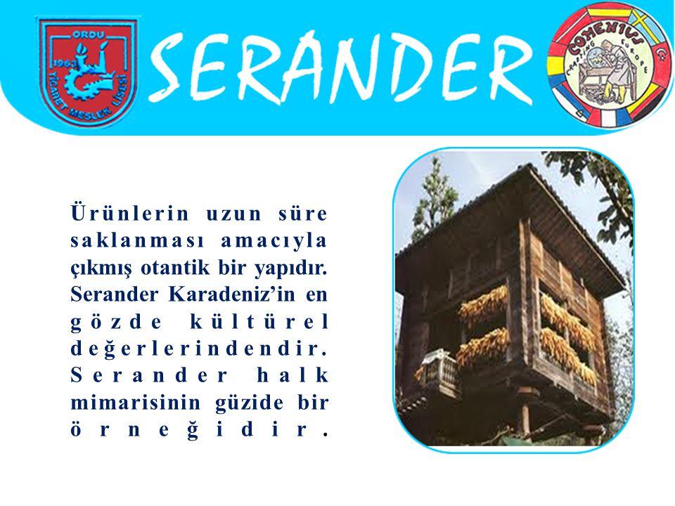 Ürünlerin uzun süre saklanması amacıyla çıkmış otantik bir yapıdır. Serander Karadeniz'in en gözde kültürel değerlerindendir. Serander halk mimarisini