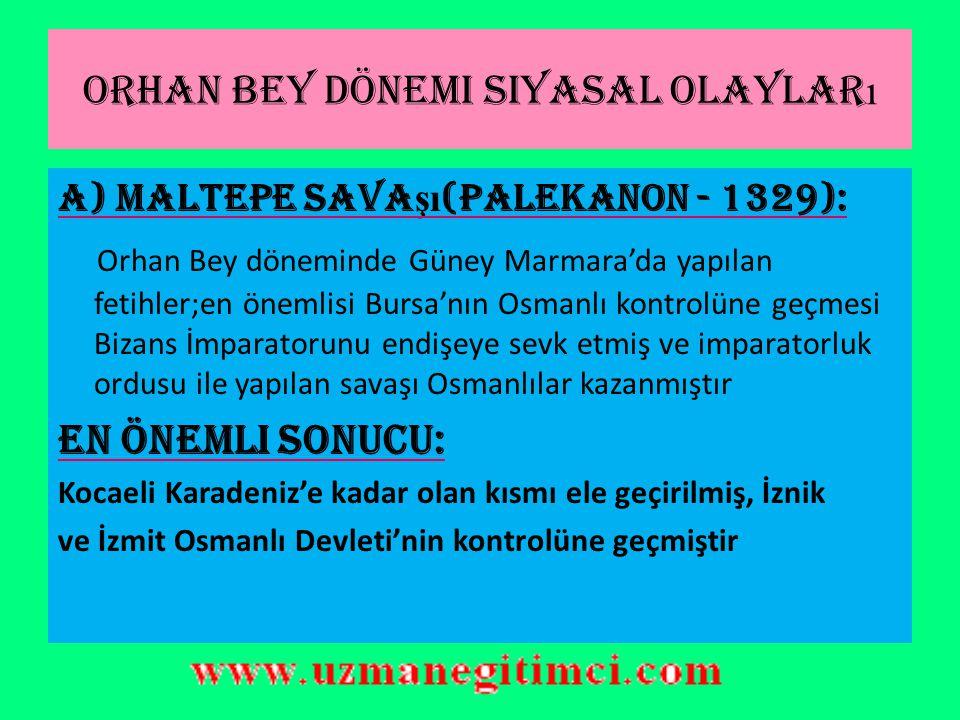 ORHAN GAZ İ (1326-1362) BURSA'NIN FETH İ (1326) Osman Gazi zamanında kuşatılan Bursa şehri O'nun ölümünden kısa bir süre sonra oğlu Orhan Gazi tarafından fethedilmiştir.(1326)  Bursa alındıktan sonra Osmanlı'nın yeni başkenti olmuştur… Orhan Gazi Dönemi: