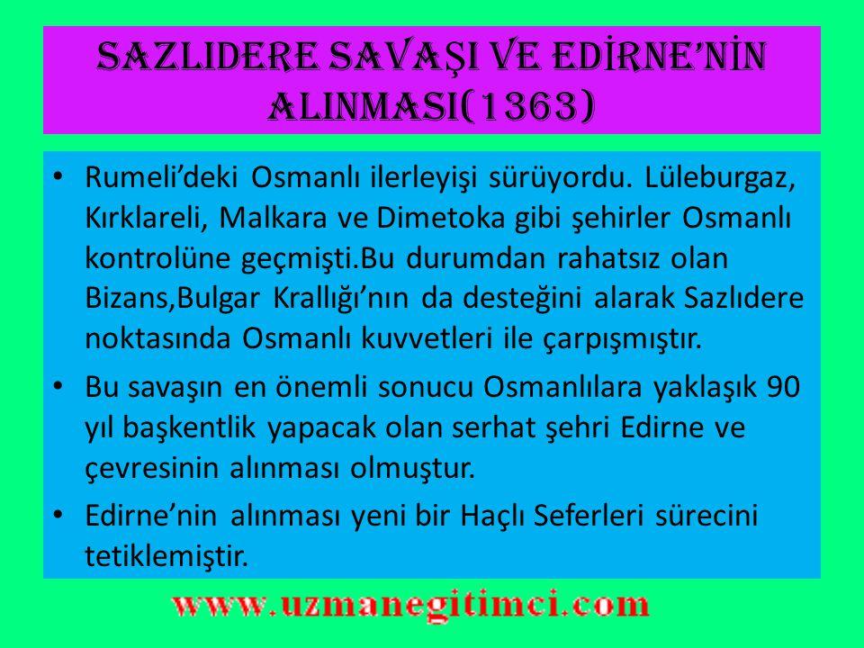 I.MURAT DÖNEM İ (1362-1389) DÖNEMİN SİYASAL OLAYLARI Babası Orhan Gazi'nin vefatı ile tahta geçen I.Murat Balkan fetihlerini sürdürmüştür.Babası gibi devlet teşkilatlanmasına da son derece önem veren 3.Osmanlı Padişahı savaş alanında şehit olan tek, Osmanlı hükümdarıdır MURAT HÜDAVENDİGAR