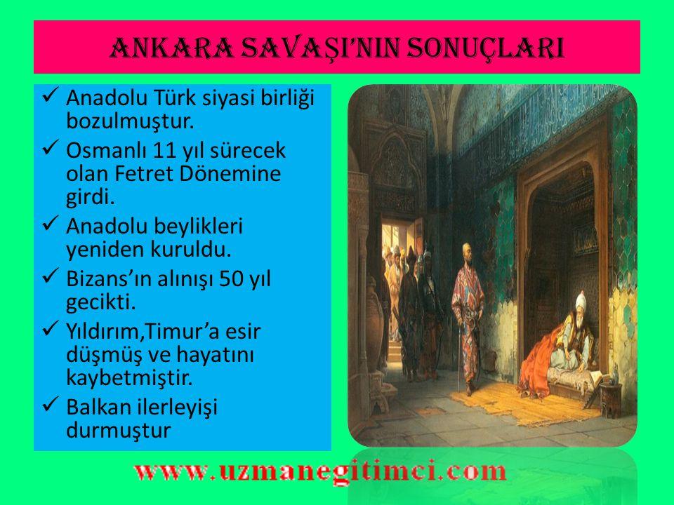 ANKARA SAVA Ş I (1402) VE SONUÇLARI