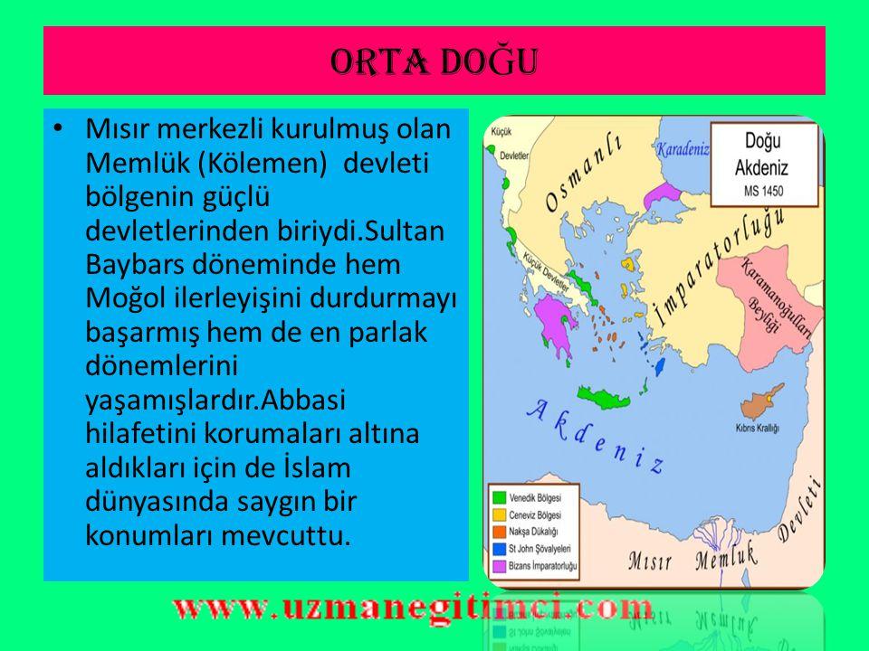 KAFKASLAR Cengiz Hanın torunu Batu Han tarafından 1215 yılında kurulan Altınorda (Altınordu) devleti yüzyılın sonuna doğru Timur tarafından yıkılarak küçük hanlıklara bölünmüştür.Bu durumdan yararlanan Rus knezlikleri birleşerek güneye doğru inmeye başlamışlardır Bölgenin en güçlü devleti konumunda olan İlhanlılar İran merkez olmak üzere Hülagu tarafından kurulmuştur.Daha sonra A.Selçukluları'nı mağlup ederek Anadolu'da hakimiyet kurmuşlardır