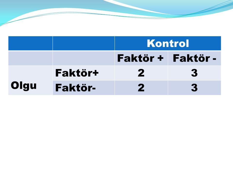 Kontrol Faktör +Faktör - Olgu Faktör+23 Faktör-23