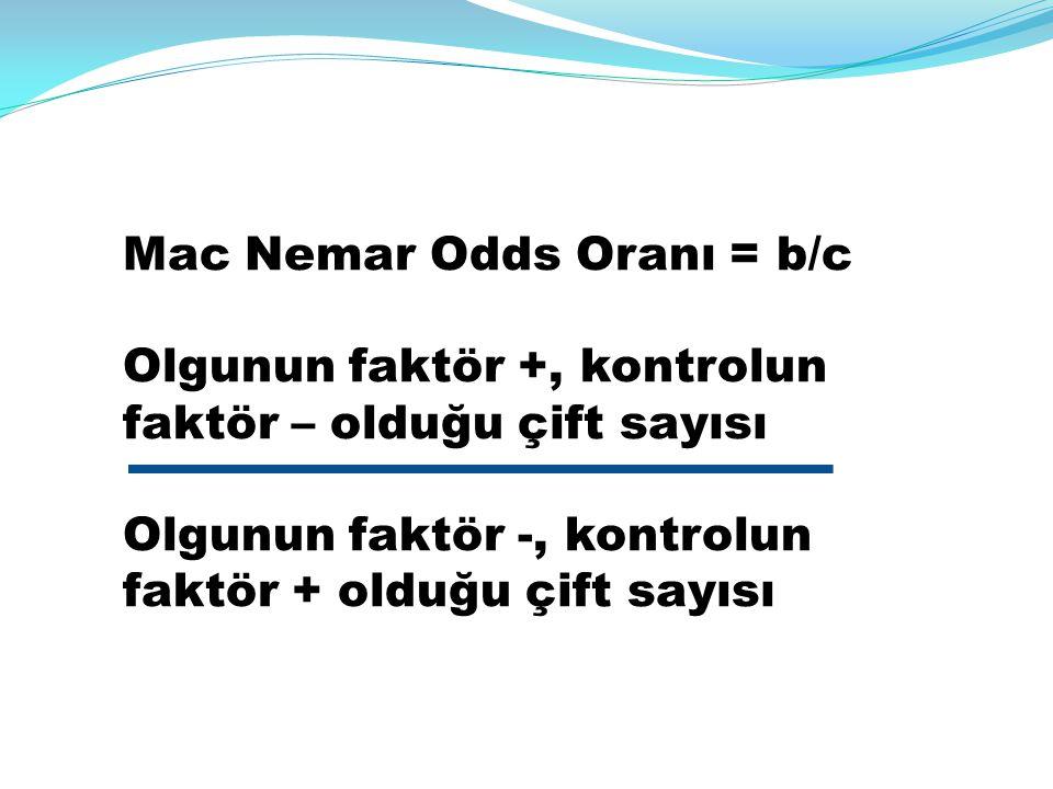 Mac Nemar Odds Oranı = b/c Olgunun faktör +, kontrolun faktör – olduğu çift sayısı Olgunun faktör -, kontrolun faktör + olduğu çift sayısı