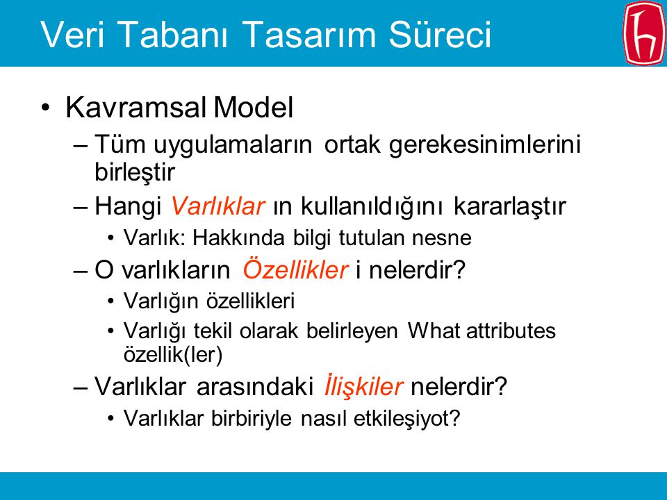 Veri Tabanı Tasarım Süreci Kavramsal Model –Her varlık ve ilişkinin VTYS'nin veri modelinde nasıl temsil edildiği Hiyerarşik.
