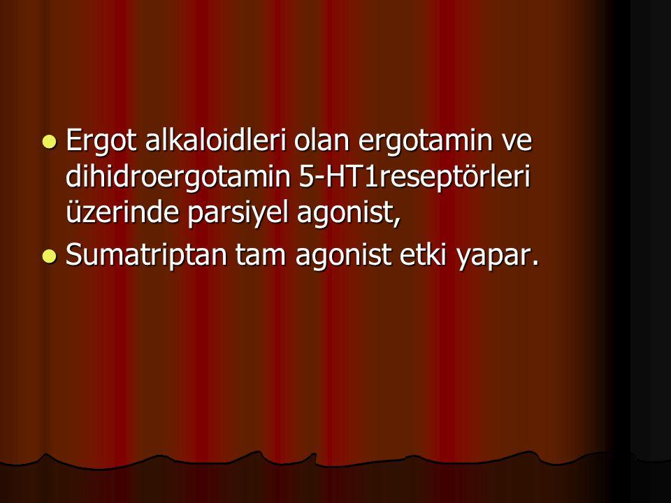 Ergot alkaloidleri olan ergotamin ve dihidroergotamin 5-HT1reseptörleri üzerinde parsiyel agonist, Ergot alkaloidleri olan ergotamin ve dihidroergotam
