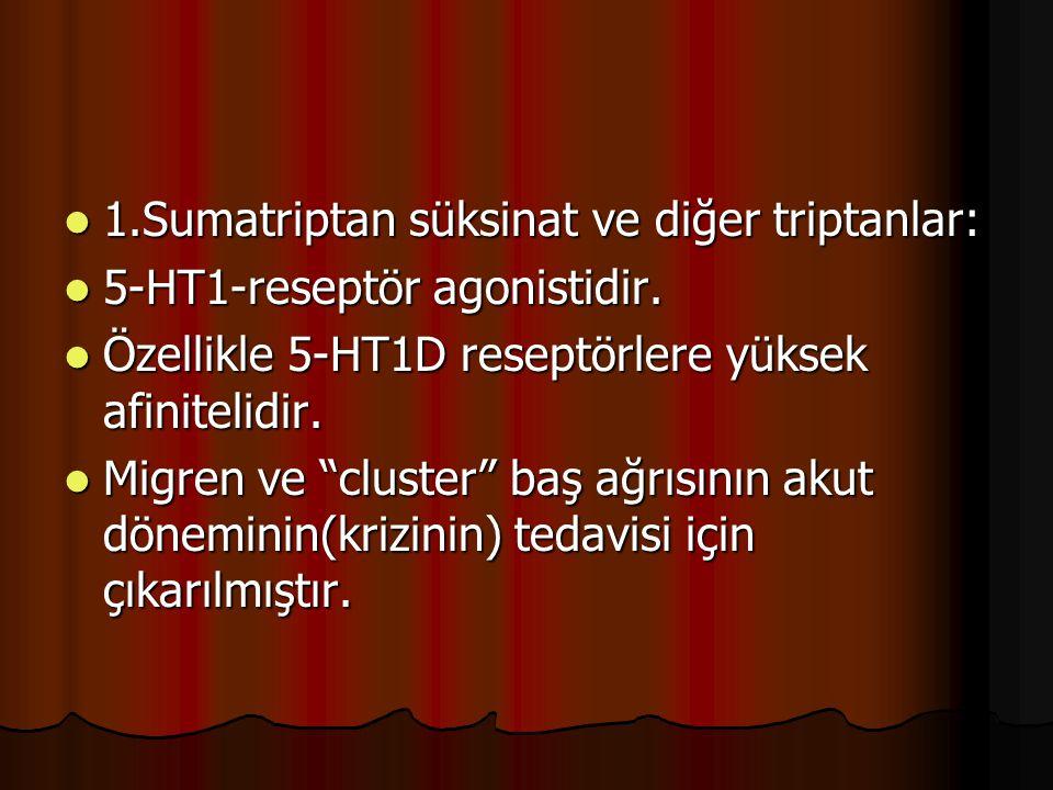 1.Sumatriptan süksinat ve diğer triptanlar: 1.Sumatriptan süksinat ve diğer triptanlar: 5-HT1-reseptör agonistidir. 5-HT1-reseptör agonistidir. Özelli