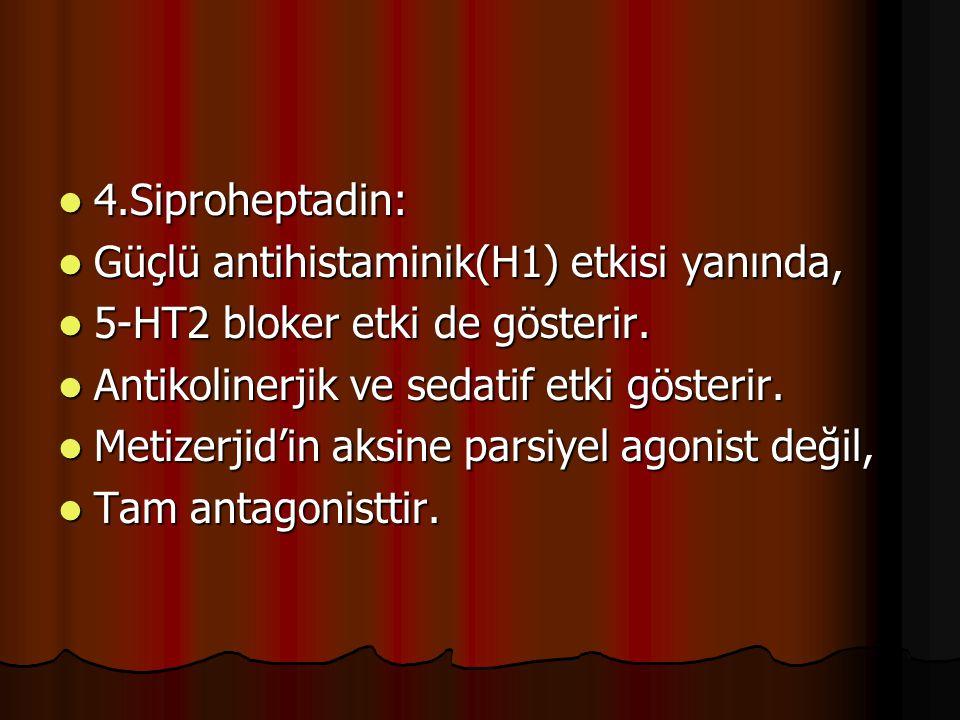 4.Siproheptadin: 4.Siproheptadin: Güçlü antihistaminik(H1) etkisi yanında, Güçlü antihistaminik(H1) etkisi yanında, 5-HT2 bloker etki de gösterir. 5-H