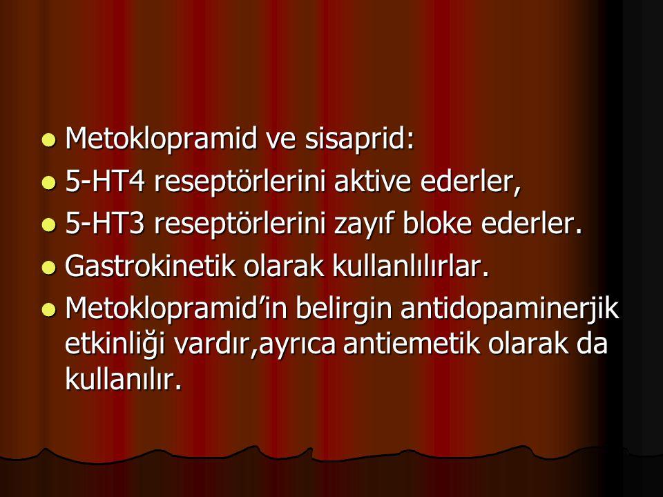 Metoklopramid ve sisaprid: Metoklopramid ve sisaprid: 5-HT4 reseptörlerini aktive ederler, 5-HT4 reseptörlerini aktive ederler, 5-HT3 reseptörlerini z