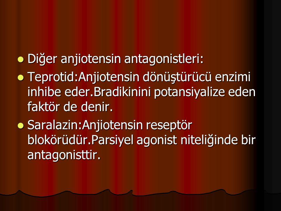 Diğer anjiotensin antagonistleri: Diğer anjiotensin antagonistleri: Teprotid:Anjiotensin dönüştürücü enzimi inhibe eder.Bradikinini potansiyalize eden