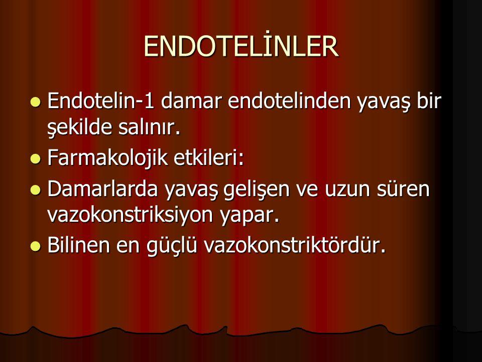 ENDOTELİNLER Endotelin-1 damar endotelinden yavaş bir şekilde salınır. Endotelin-1 damar endotelinden yavaş bir şekilde salınır. Farmakolojik etkileri