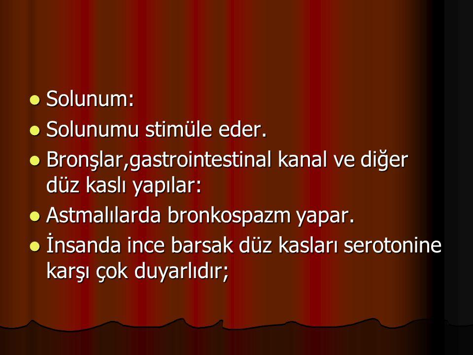Solunum: Solunum: Solunumu stimüle eder. Solunumu stimüle eder. Bronşlar,gastrointestinal kanal ve diğer düz kaslı yapılar: Bronşlar,gastrointestinal