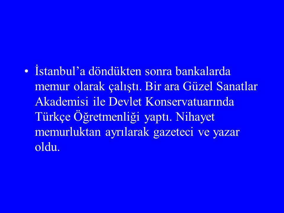 İstanbul'a döndükten sonra bankalarda memur olarak çalıştı. Bir ara Güzel Sanatlar Akademisi ile Devlet Konservatuarında Türkçe Öğretmenliği yaptı. Ni