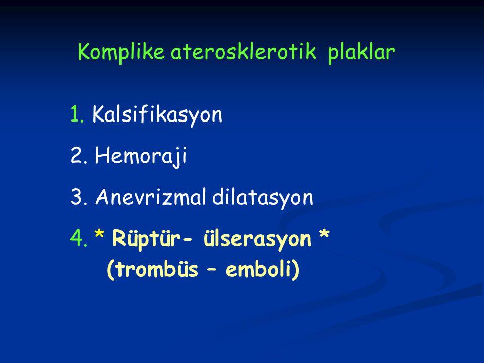 Komplike aterosklerotik plaklar 1. Kalsifikasyon 2. Hemoraji 3. Anevrizmal dilatasyon 4. * Rüptür- ülserasyon * (trombüs – emboli)