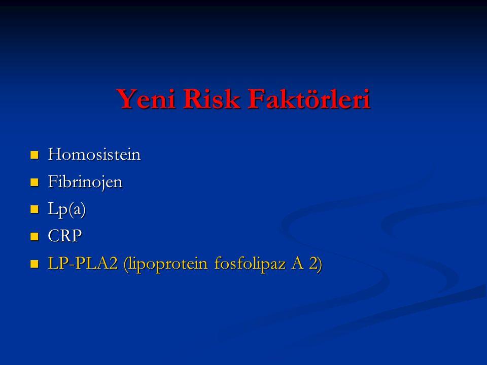 Yeni Risk Faktörleri Homosistein Homosistein Fibrinojen Fibrinojen Lp(a) Lp(a) CRP CRP LP-PLA2 (lipoprotein fosfolipaz A 2) LP-PLA2 (lipoprotein fosfo