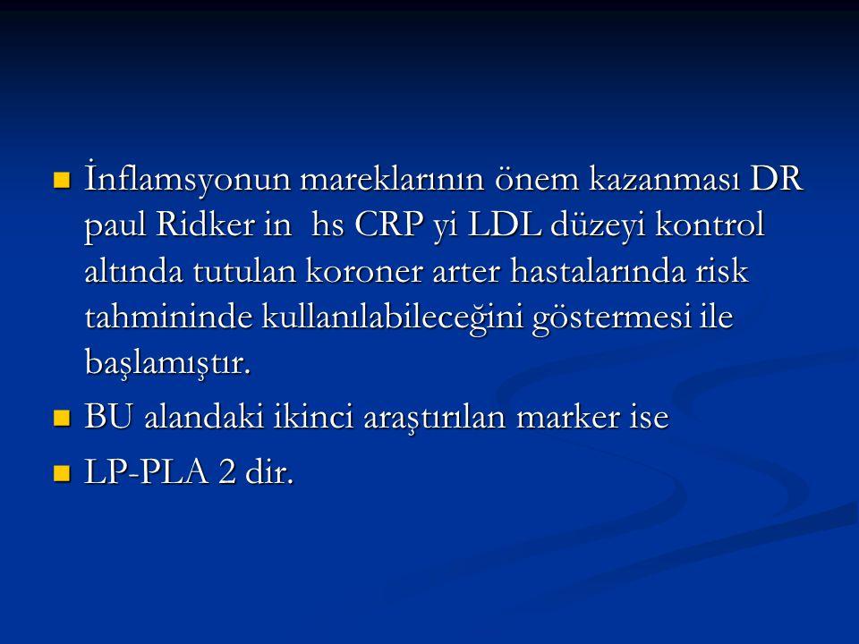 İnflamsyonun mareklarının önem kazanması DR paul Ridker in hs CRP yi LDL düzeyi kontrol altında tutulan koroner arter hastalarında risk tahmininde kul