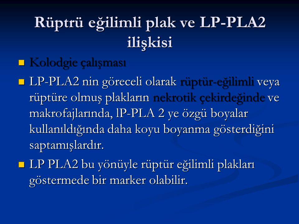 Rüptrü eğilimli plak ve LP-PLA2 ilişkisi Kolodgie çalışması Kolodgie çalışması LP-PLA2 nin göreceli olarak rüptür-eğilimli veya rüptüre olmuş plakları