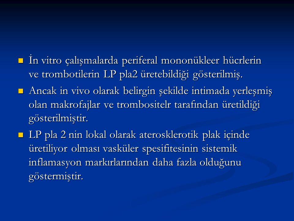İn vitro çalışmalarda periferal mononükleer hücrlerin ve trombotilerin LP pla2 üretebildiği gösterilmiş. İn vitro çalışmalarda periferal mononükleer h