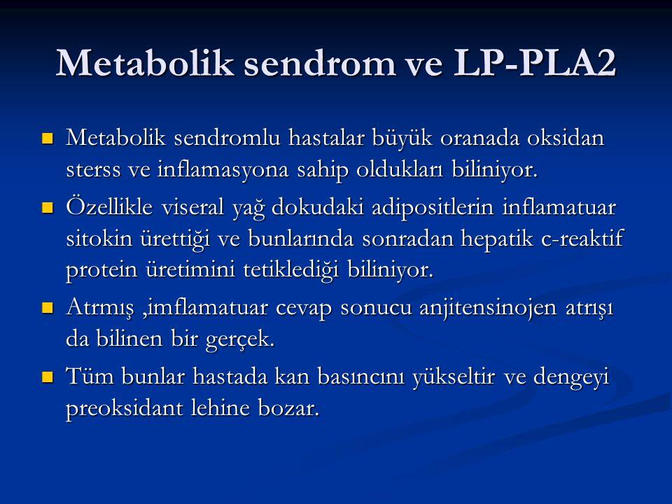 Metabolik sendrom ve LP-PLA2 Metabolik sendromlu hastalar büyük oranada oksidan sterss ve inflamasyona sahip oldukları biliniyor. Metabolik sendromlu