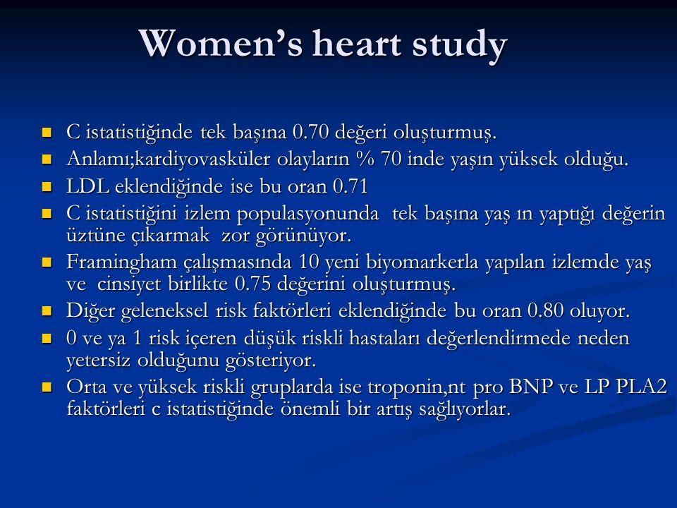 Women's heart study C istatistiğinde tek başına 0.70 değeri oluşturmuş. C istatistiğinde tek başına 0.70 değeri oluşturmuş. Anlamı;kardiyovasküler ola
