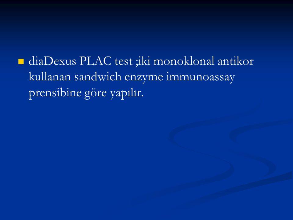 diaDexus PLAC test ;iki monoklonal antikor kullanan sandwich enzyme immunoassay prensibine göre yapılır.