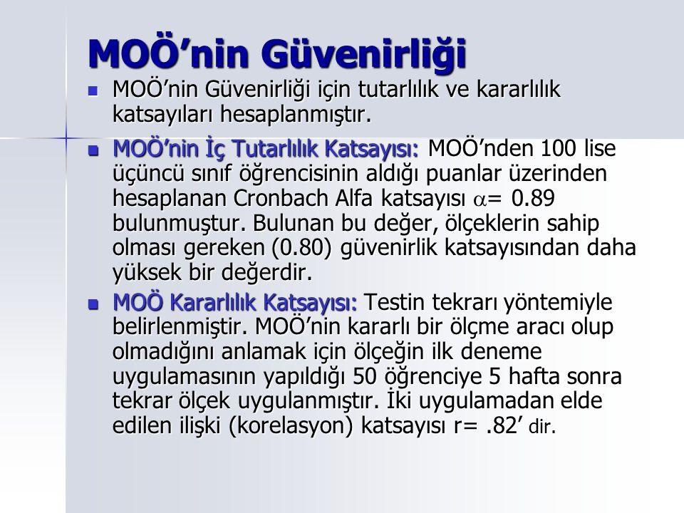 MOÖ'nin Güvenirliği MOÖ'nin Güvenirliği için tutarlılık ve kararlılık katsayıları hesaplanmıştır. MOÖ'nin Güvenirliği için tutarlılık ve kararlılık ka
